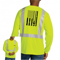 Class 2 Mesh Long Sleeve Pocketed Tee  (Safety Yellow)