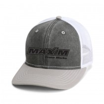Black / Lt Grey/ White Washed Twill Trucker with Snap Back