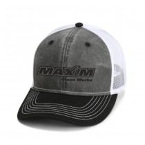 Black Washed Twill Trucker with Snap Back