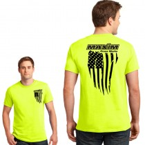 Vertical Distressed American Flag Short Sleeve Safety Green Tee