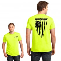 Distressed American Flag Short Sleeve Safety Green Tee