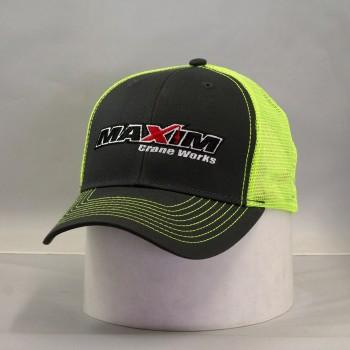 C112- Charcoal / Safetygreen Mesh back.  Full maxim