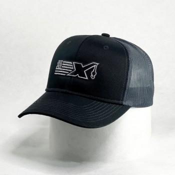 C112 Black/Steel Mesh back,  FlagX logo